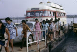 Uganda, passengers and vehicles loaded on Nile River ferry