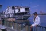 Cairo (Egypt), passenger boat docked at the Nile river coastline