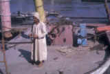 Cairo (Egypt), man on the deck of a boat on the Nile river