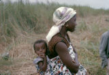 Democratic Republic of the Congo, woman carrying baby on her back