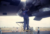 Democratic Republic of the Congo, mechanic working on airplane
