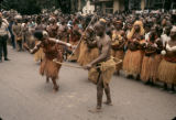 Democratic Republic of the Congo, people in traditional dress dancing at Independence Day...