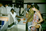Democratic Republic of the Congo, customers checking out at supermarket