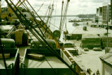 Nigeria, view of Lagos waterfront from cargo ship