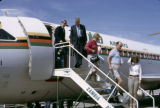 Zambia, people departing Zambia Airways airplane at Lusaka Airport