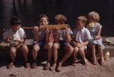 Africa, group of children holding cricket bat