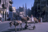 Cairo (Egypt), street scene with a donkey cart