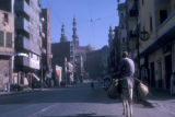 Cairo (Egypt), street scene with a man riding a donkey
