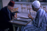 Cairo (Egypt), two men playing backgammon