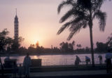 Cairo (Egypt), sunset over the Nile river
