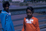 Cairo (Egypt), two girls by the Nile river waterfront