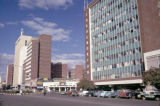 Zimbabwe, street scene in front of Throgmorton House in Harare