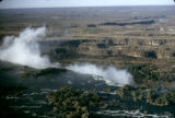 Zambia and Zimbabwe, aerial view of Victoria Falls straddling the border