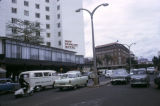 Kenya, car traffic in front of New Stanley Hotel in Nairobi