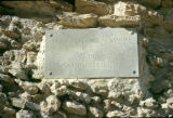 Tunisia, plaque on ruins at ancient city of Carthage