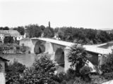 France, overview of historic Navarrenx Bridge in Navarrenx