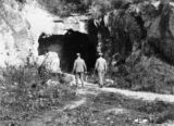 France, walking into entrance of oil mine in Puy-de-Dome
