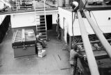 Atlantic Ocean, galley worker on ship deck peeling potatoes