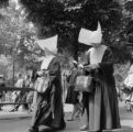 France, nuns in full habit walking in Paris park