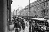Germany, Berlin street scene with troops awaiting Adolph Hitler