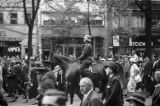 Germany, soldier on horseback leading soldiers for changing of the guard in Berlin