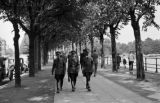 Germany, uniformed soldiers in Hamburg wearing arm bands over Nazi emblems