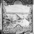 Portugal, mural of bridge outside of shop in Santarém
