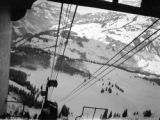 Switzerland, view of Alps from ski lift in Engelberg