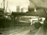 Poland, steamer Kosciuscko docked by train tracks