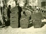 Poland, stacked baskets at Grodzick market