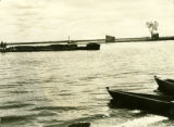 Belarus, barge of birch wood approaching Pinsk landing