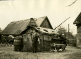 Poland, man standing in front of shed