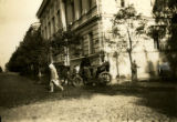 Lithuania, horse and carriage on cobbled road