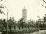 Poland, view of cemetery and tower