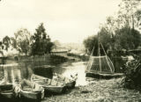Belarus, canoes docked in fishing village
