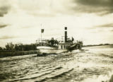 Belarus, steamer boat traveling down river