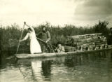 Belarus, people paddling canoe filled with birch logs