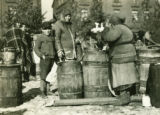 Poland, large barrels at market