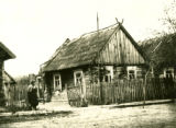Belarus, street view of wooden house
