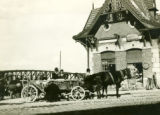 Poland, people unloading wagon