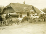 Ukraine, people in carriages at inn
