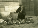 Ukraine, man selling mushrooms
