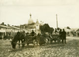 Ukraine, horses and wagons at market
