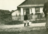 Ukraine, man walking through town