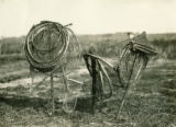 Belarus, small conical fishing nets drying