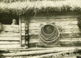 Belarus, conical fishing nets hanging on house
