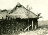 Ukraine, fence is woven into side of granary