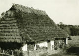 Poland, house with firewood stacked out front