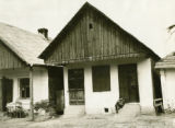 Poland, wooden house with plastered walls
