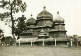 Ukraine, large wooden church with four dome roofs